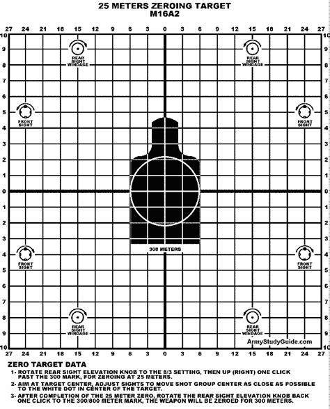 printable zero targets 25 meter m16a2 zero target not shown to scale