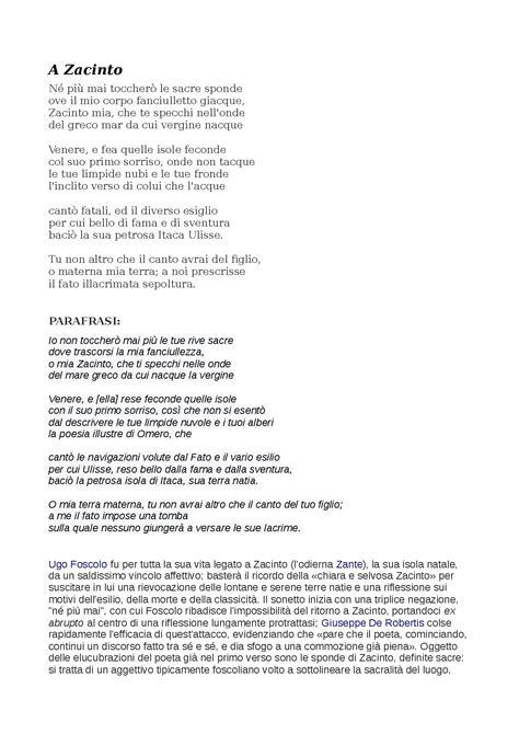 analisi testo a zacinto poesia di ugo foscolo a zacinto docsity