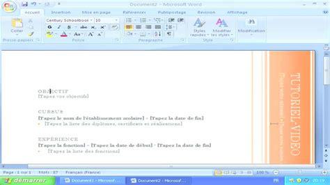 Microsoft Word Original exemple cv microsoft word 2007
