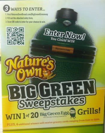 Big Green Egg Gift Card - quot big green sweepstakes quot win a big green egg
