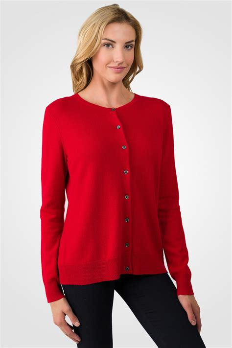 Lovely Womens Christmas Turtlenecks #2: Red-cashmere-button-front-cardigan-sweater-rt.jpg
