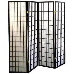 4 panel shoji screen room divider black walmart com