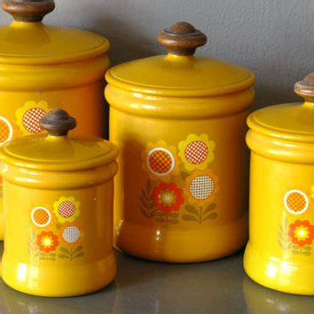 kitchen canister set metal yellow flower from