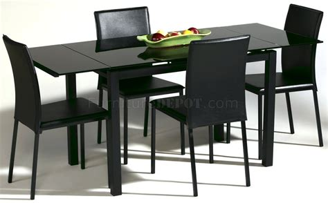 Black Glass Dining Room Table And Chairs by Black Glass Top Modern Dining Table W Optional Chairs