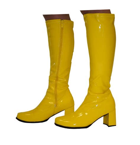 knee high boots yellow patent size 4