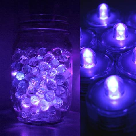qty 24 purple submersible bright led tea light wedding