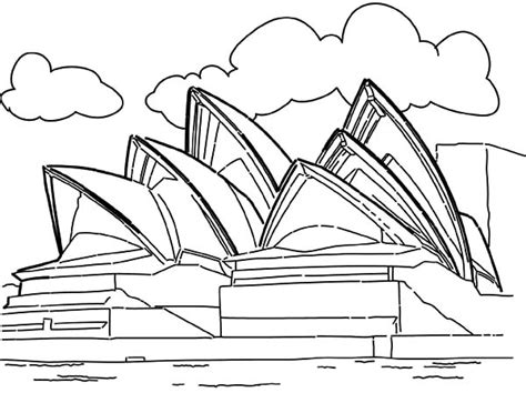 coloring page of sydney opera house opera house sidney australia worldwonders coloring pages