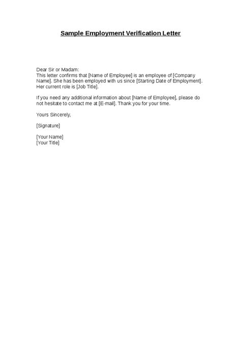 employment verification letter template free search results for letter of employment verification