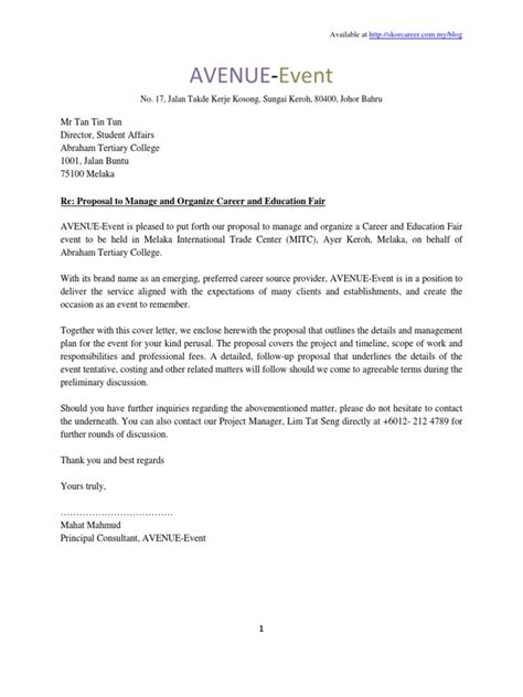 Letter For Organising An Event Sle Of Plan Event Fee Logistics