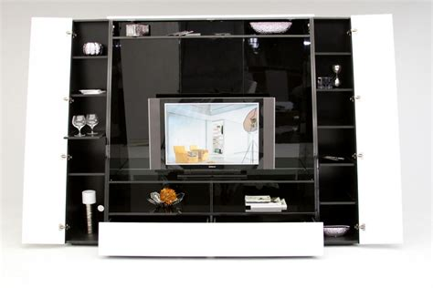 Entertainment Unit Design by Bavaro Modern Black And White Lacquer Tv Entertainment