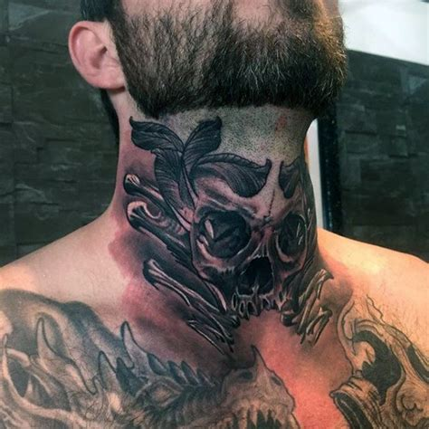 80 throat tattoos for men cool masculine design ideas