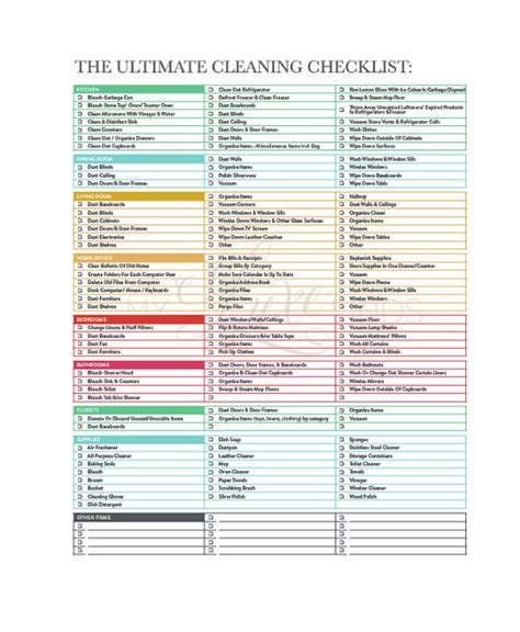house cleaning list template cleaning checklist 23 free word pdf psd documents