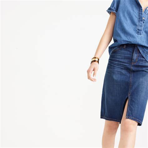 denim front slit skirt
