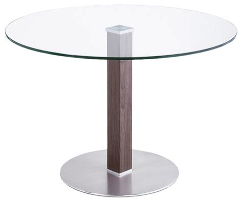 Stainless Steel Glass Dining Table Cafe Brushed Stainless Steel Dining Table With Clear Glass Modern Dining Tables By Armen