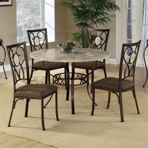 granite top dining set hillsdale brookside 5 piece stone top round dinette set