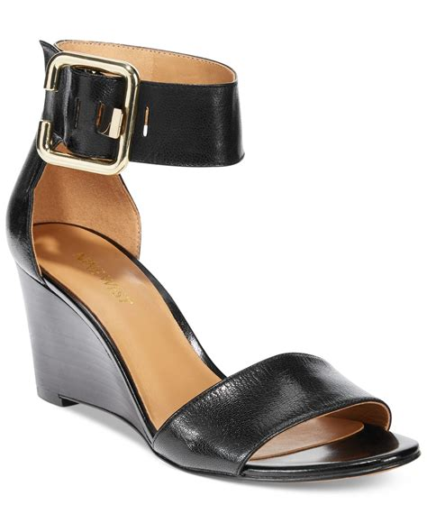 nine west sandal wedges nine west ruiz wedge sandal in black lyst