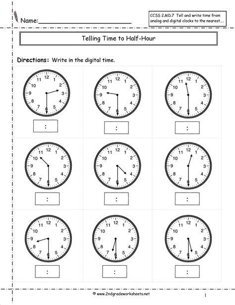 worksheet on clock for grade 2 telling and writing time worksheets