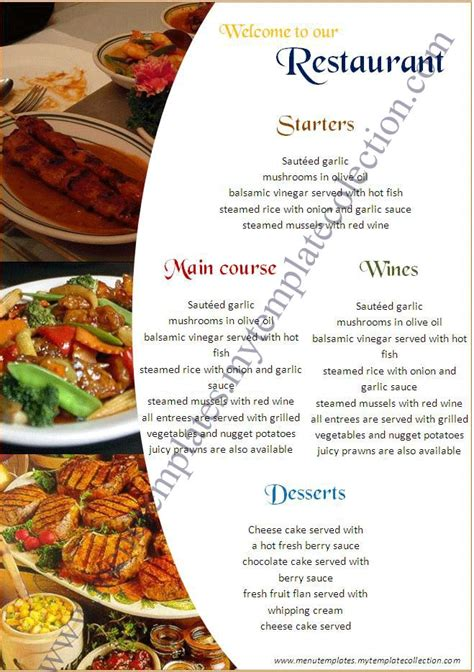 restaurant menu templates free menu template as
