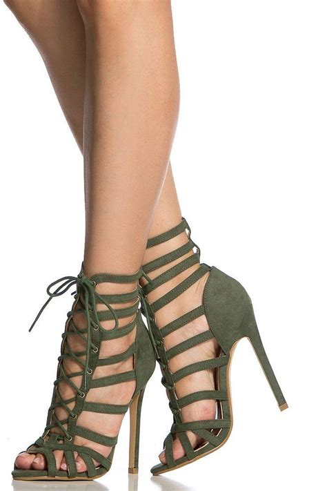 olive faux suede cage lace up single sole heels shoes