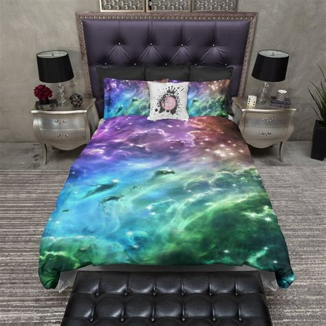 galaxy bedding blue green purple galaxy bedding ink and rags