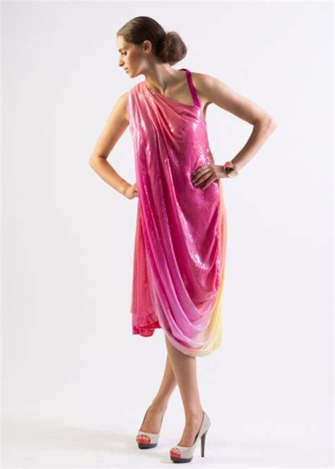 draped over aphrodite draped all over ombre sequin one shoulder dress