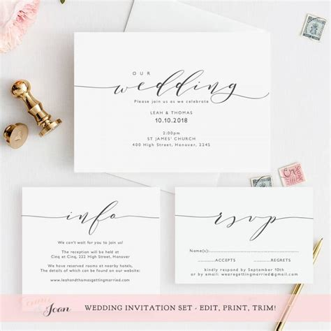 edit wedding invitation card wedding invitation template invitation set printable wedding invitation rsvp and info card