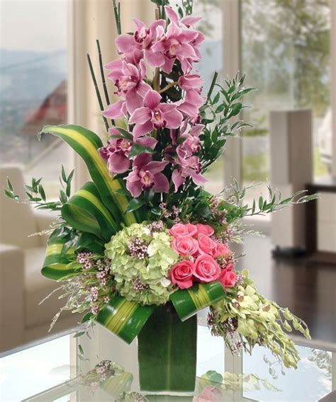 unique flower arrangements a dazzling fresh flower arrangement of cymbidium orchids
