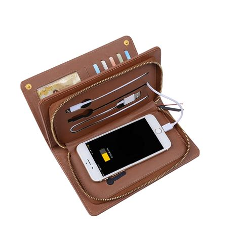 Power Bank Wallet 2018 new business gift set pu leather wallet with power bank card holder money purse