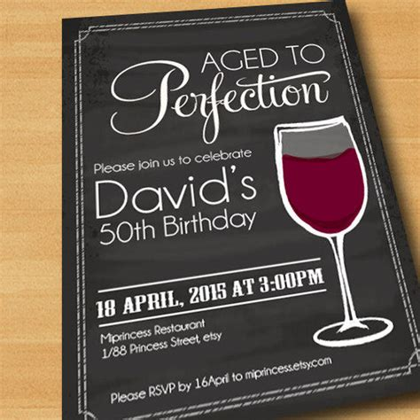Wine Birthday Invitation Aged To From Miprincess On Etsy Aged To Perfection Invitation Template Free