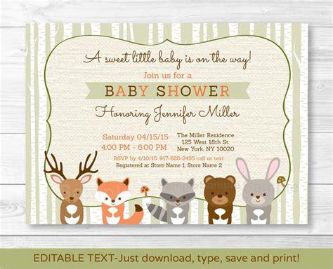 printable animal baby shower invitations woodland animals fox deer bear neutral baby shower