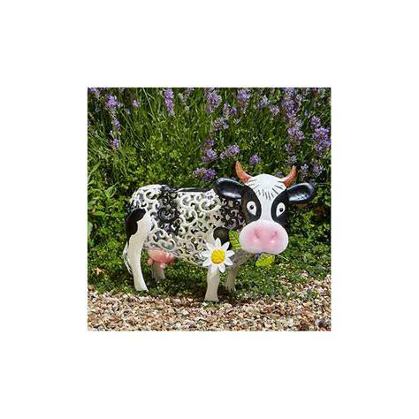 Vache Decorative vache d 233 corative solaire en m 233 tal jardin et saisons