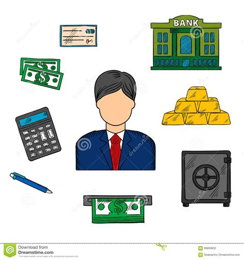 Banker Profession And Financial Icons Stock Vector Image