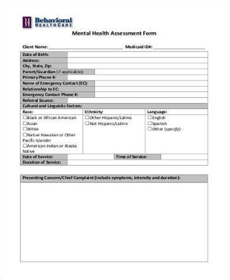 basic assessment forms 8 free documents in word pdf