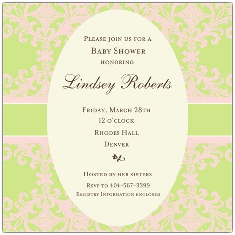 Pink And Green Baby Shower Invitations by Pink And Green Oval Pattern Baby Shower Invitations