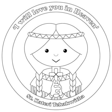 st kateri tekakwitha coloring page coloring pages