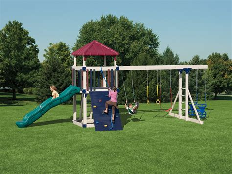 children s swing sets kids swing sets maintenance free vinyl outdoor playsets