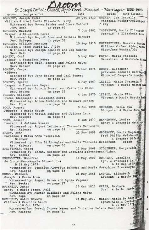 County Missouri Marriage Records Buchheit History