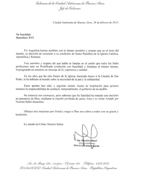 carta formal a tu jefe la carta de despedida que le envi 243 macri al expapa ratzinger noticias de buenos aires