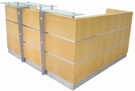 Glasstop Maple Reception L Desk W Mobile Files Mobile Reception Desk