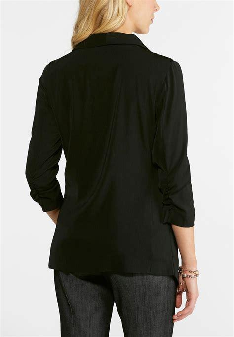 draped blazer draped matte satin blazer fashion jackets cato fashions