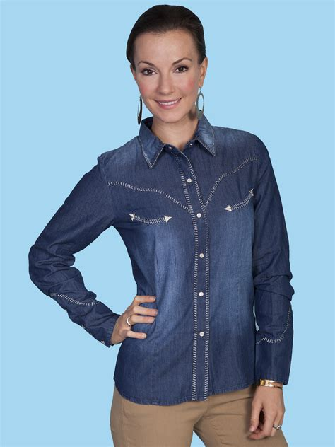 scully 174 womens denim ls western blouse