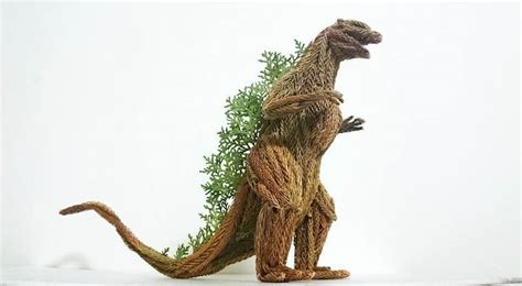 ls made from leaves amazing godzilla sculpture made from pine tree branches