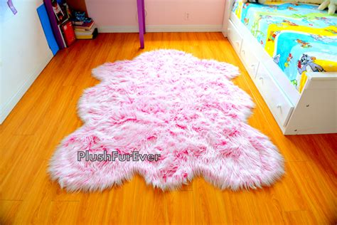 Sheep Home Decor it s a girl rug baby girl nursery rug pink white faux fur