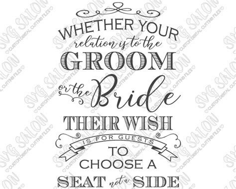 Wedding Quotes A Seat Not A Side by Choose A Seat Not A Side Custom Diy Vinyl Wedding Sign