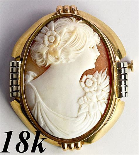 One Treasure Pin antique shell cameo in large 18k deco brooch mount from antiques uncommon treasure on ruby