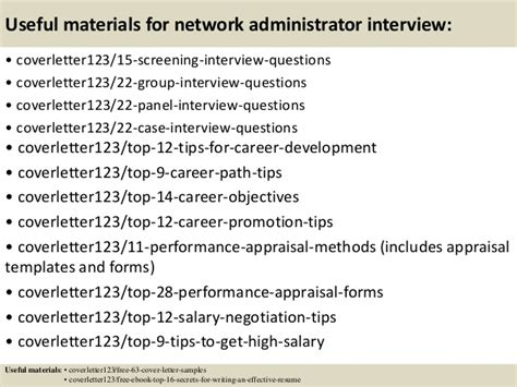 It Network Administrator Cover Letter by Top 5 Network Administrator Cover Letter Sles
