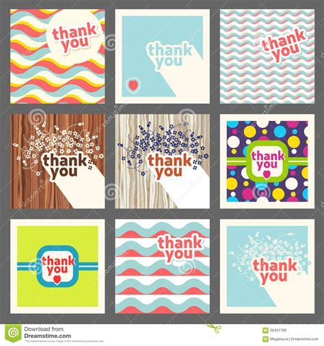 thank you card design template thank you card design template set retro style stock