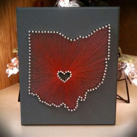 String Ohio - made to order state string with center logo 9 quot x11 quot