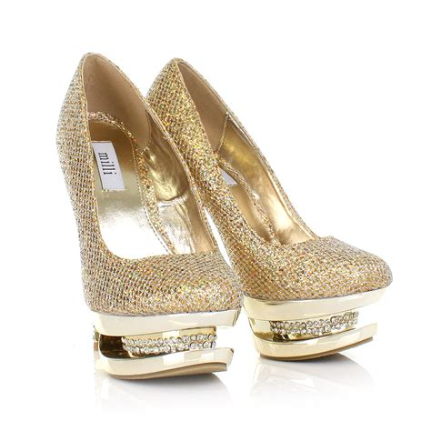 high heels gold womens gold diamante platform encrusted high heel