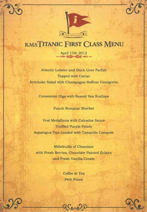 titanic first class menu what did diners aboard the rms titanic eat chef at large